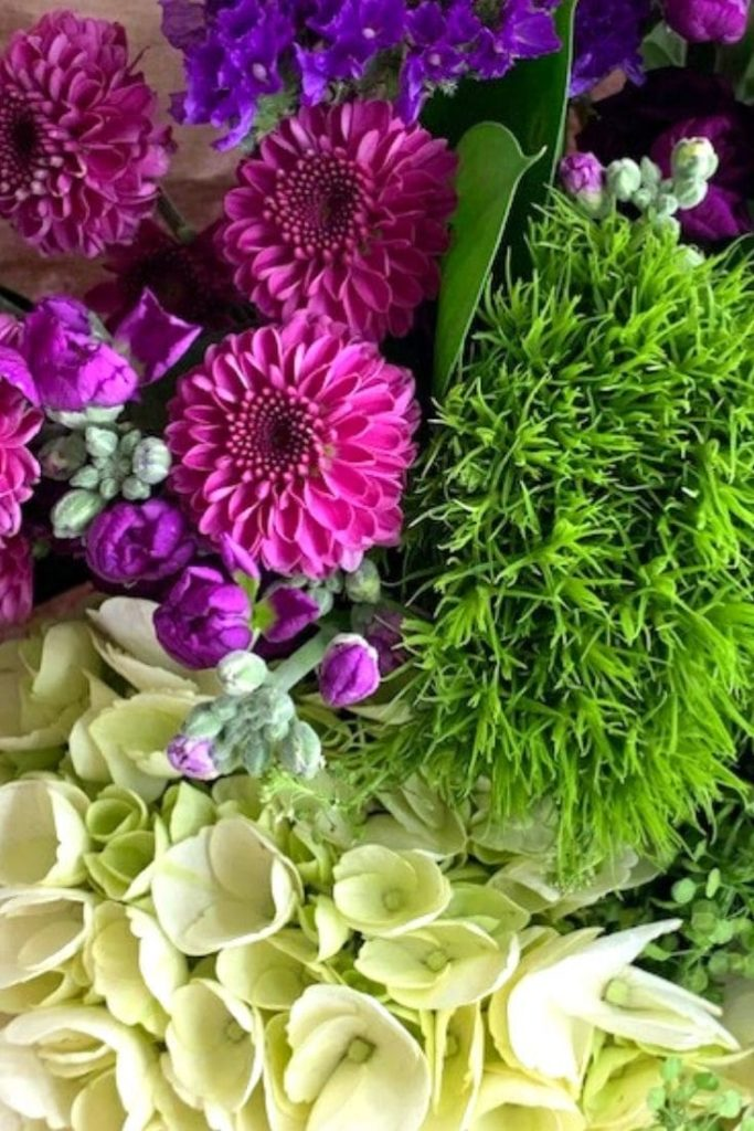 assorted flowers in green, purple and pink shades