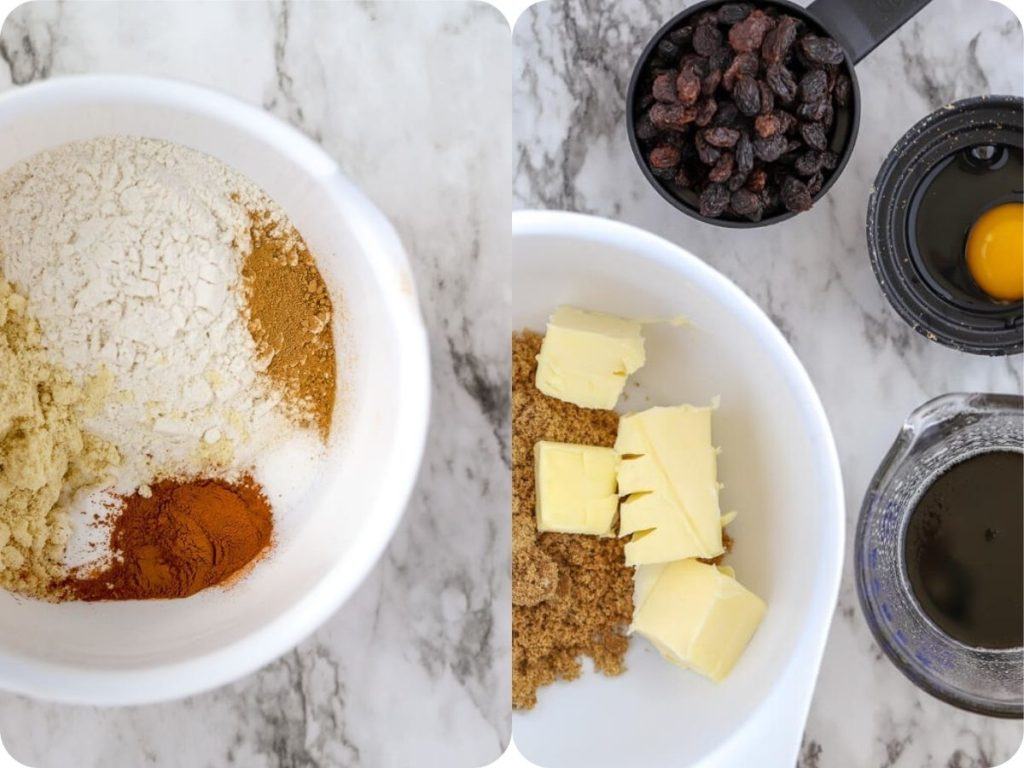 a pair of images side by side showing he dry ingredients in one bowl and the butter and sugars in another