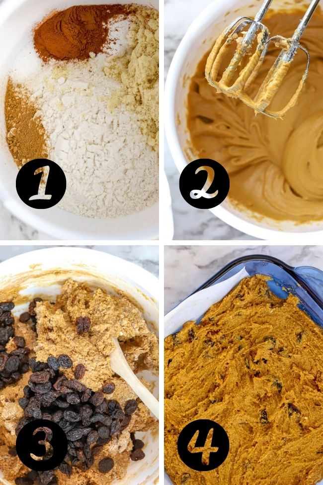 four numbered images showing steps in making hermit bar cookies