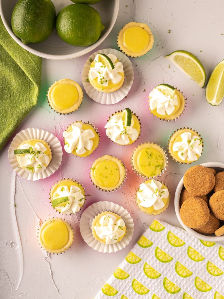 lime cheesecake bites with lime curd and whipped cream, Siete Family Meican shortbread cookies