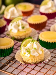 small cheesecake bites with lime and whipped cream