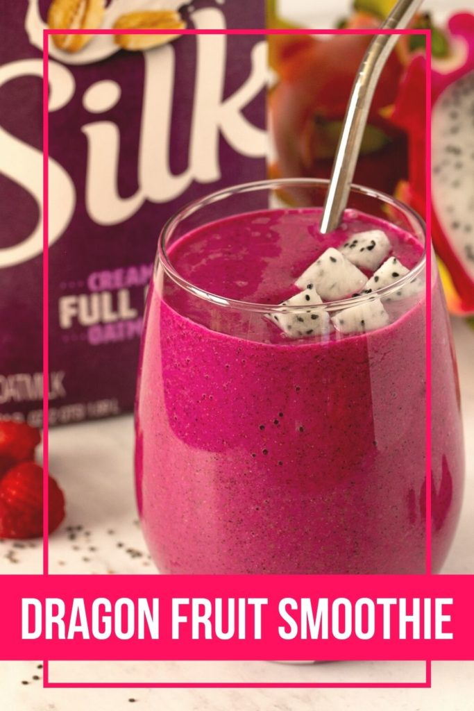 glass filled with magenta colored smoothie with fresh dragon fruit