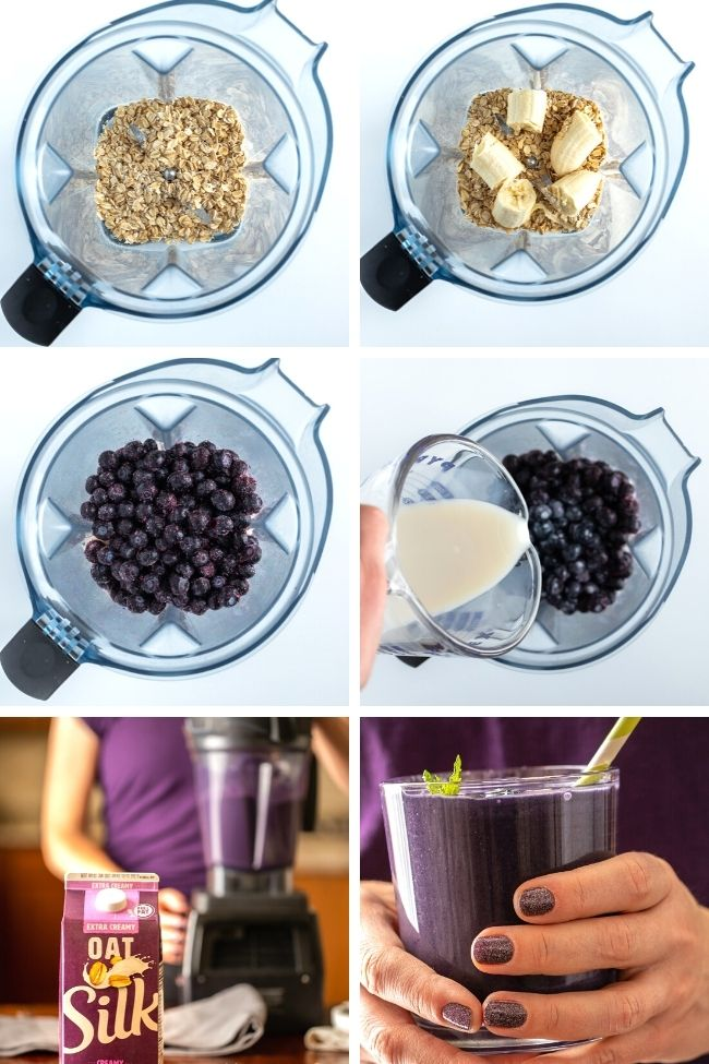 six photos showing steps to make blueberry oatmeal smoothie in blender