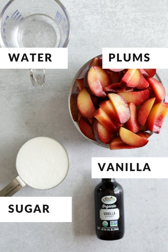ingredients of plums, vanilla, sugar and water for plum butter recipe