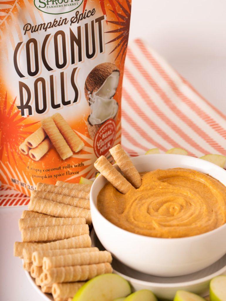 cream cheese pumpkin spice dip with coconut rolls