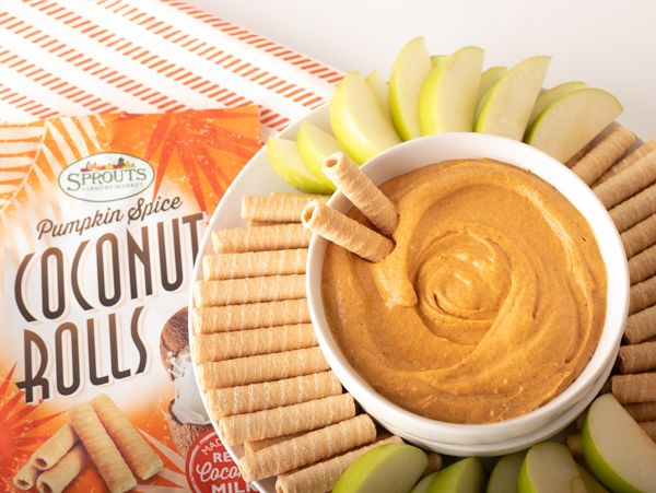Sprouts coconut rolls and apple slices with pumpkin dip